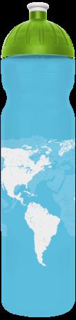 FreeWater Trinkflasche 1,0l Welt türkis