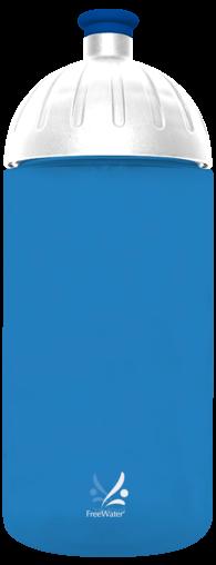 FreeWater Trinkflasche Logo klein, 0,5 l Blau transparent