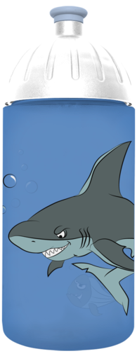 FreeWater Trinkflasche Hai 0,5l Blau transparent