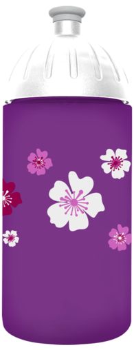 FreeWater Trinkflasche Blumen 0,5l Lila transparent