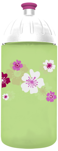FreeWater Trinkflasche Blumen 0,5l Grün 366 transparent