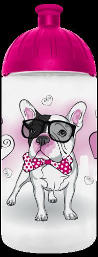 FreeWater Trinkflasche Französische Bulldogge 0,5l transparent - magenta