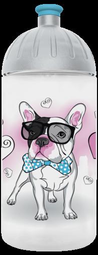 FreeWater Trinkflasche Französische Bulldogge 0,5l transparent - türkis
